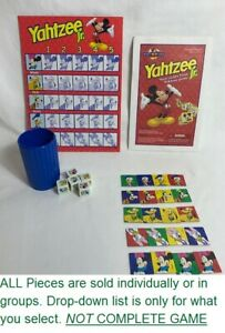 U-PICK 1998 Yahtzee Jr. Mickey Mouse Replacement Cup Tokens Board Dice