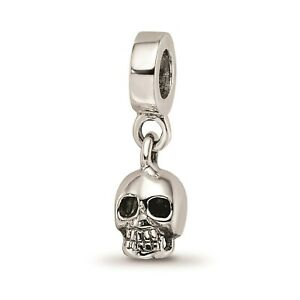 Reflection Beads Sterling Silver Polished 3D Skull Head Dangle Bead