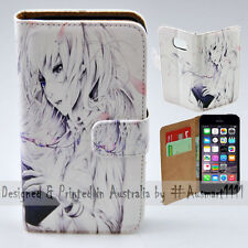 Wallet Phone Case Flip Cover for Apple iPhone 5 / 5S - Reading Girl Anime Print