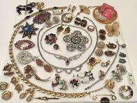 Vintage Necklace Earrings Pin Flower Rhinestone Jewelry Lot MONET TRIFARI AVON++