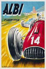 Vintage Années 1950 Français Course Automobile Affiche Circuit D'Albi Les
