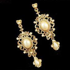 Ornate Antique Scroll Opens Beads Deco Cream Pearl Drop Chandelier Earrings Gold