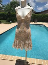 Mandalay Lace and Satin Cocktail Sequin Detail Cocktail Mini Dress Sz 4