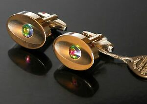 SWAROVSKI CRYSTAL Cufflinks Iridescent Stone Gold Tone Jeweled Tie Pin Austria