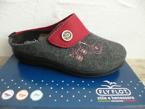 Fly Flot Ladies Slippers Mules Slippers Grey/Red New