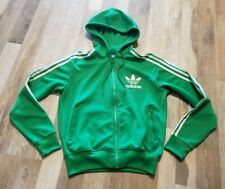 Adidas Originals Men's size Small Bright Green Retro Hoodie Track Jacket Trefoil