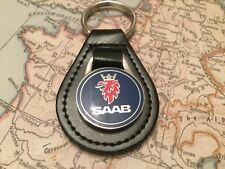 SAAB ENAMEL BLACK LEATHER KEY RING FOB 9-3 900 9000 92 96