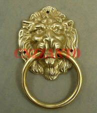 """3.5"""" Lions head Solid brass door knocker handle ring with brass nails"""