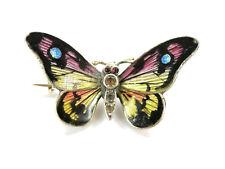 """Jugenstil Brosche """"Schmetterling"""" - MEYLE & MAYER - ~1900/10 - Emaille - Silber"""