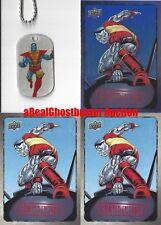 Colossus Dog Tag + 2 Base Cards & 1 Foil Card - Upper Deck Marvel Dossier X-Men