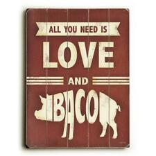 One Bella Casa 0004-4656-25 9 x 12 in. All You Need is Love & Bacon Solid Woo.