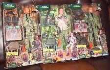 "3 NEW Blue Box, Wild Adventure Bear, Deer, Turkey Hunter 12"" Figures w/ Gear, 5+"