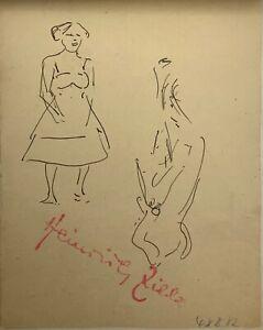 Heinrich Zille, Figurenstudien - originale Federzeichnung auf Papier