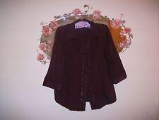 Women's purple plum cotton blouse / shirt with ruffles & sequins, size 12