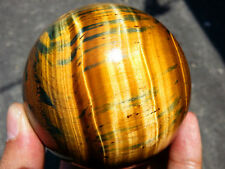657g 75mm Natural Golden Tiger's Eye Crystal Sphere Ball Healing China W1583