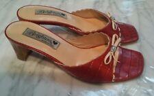 BRIGHTON Women TONI Red Slip-On High Heels Open Toe Mule Shoes 6M