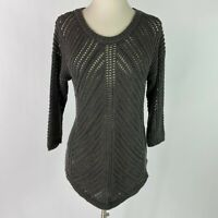 Chelsea & Theodore Women's Size Large Open Knit Sweater Charcoal Gray