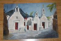 VINTAGE MYKONOS GREECE GREEK ISLAND CHURCH LANDSCAPE LISTED ARTIST W/C PAINTING