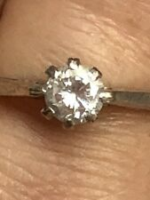 Hallmark 18k White Gold 1/3 Carat Vs Diamond Solitaire Gold Ring -Uk Size P