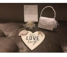Woman's Luxury Love 💕 Gift Set - White Satin Bag- Love Plaque- Glass Candle New