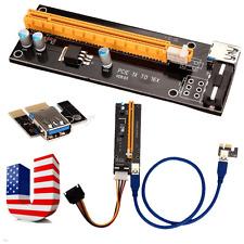 PCI-E USB3.0 Express 1x -16x GPU Extender Riser Card Adapter Power Cable 4Pin US