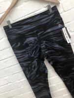 Reebok Leggings Marble Black Grey Fitness Workout Gym Full Length Large 14-16