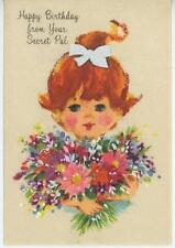 VINTAGE REDHEAD GIRL PONYTAIL FLOWER PINK CHEEKS BIRTHDAY GREETING CARD PRINT