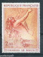 TABLEAU FRANCE 1973, timbre 1742, CHARLES LE BRUN, ETUDE DE FEMME, neuf**