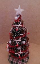 Dollhouse Miniatures Handcrafted Christmas tree w/reindeer & tiny pine cones