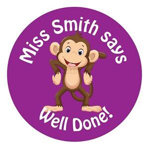 110 Personalised Teacher Reward Stickers for Pupils Purple Monkey gift