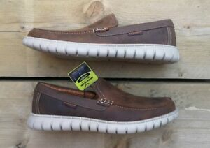 New Authentic Skechers Moreway - Lentro Brown Leather Slip On Shoes. UK10.