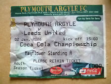 Ticket- PLYMOUTH ARGYLE v LEEDS UNITED, Coca Cola Championship, 02 January 2006