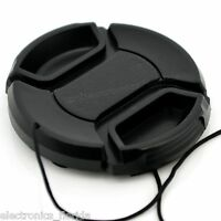62mm Lens Cap center pinch snap on Front Cover string for Canon Nikon Sony -e226