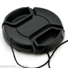 77mm Lens Cap center pinch snap on Front Cover string for Canon Nikon Sony -e164