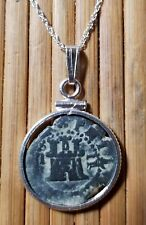 Authentic Spanish Colonial Pirate Shipwreck 2 Maravedis Coin 925 Silver Necklace