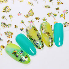 Coconut Tree Leaf 3D Nail Stickers Tattoos Holographic Gold Nail Decals Manicure