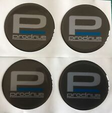 ALLOY WHEEL PFF7 PRODRIVE DOMED RESIN CENTRE CAP STICKERS X4 GREY SILVER 45MM