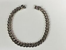 "14k Solid White Gold Handmade Link Men's Bracelet 7.5 MM 8.5"" 33 grams"