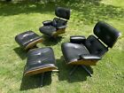 Matching Pair  MCM Selig Vintage Eames Chairs   Black Leather   Walnut