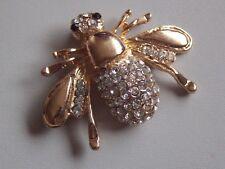Adorable Modern Gold Tone & Diamante Bee Brooch