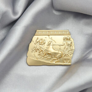 Grecian Temple Horse Carriage Sculpture Hat Lapel Scarf Pin Brooch Gold Roman