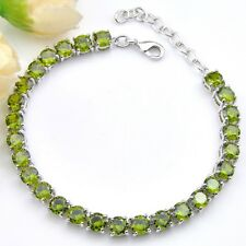 Shine Fire Dazzling Round Olive Peridot Zirconia Silver Chain Bracelets Bangles