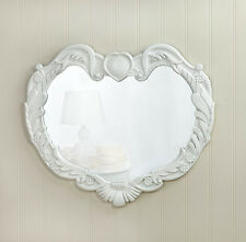 french Distressed WHITE shabby HEART vintage wood bathroom entry Wall Mirror