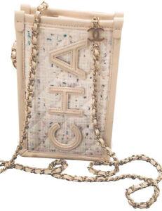 Chanel Beige Lambskin Tweed PVC Small Crossbody Bag