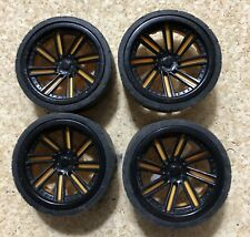 """RC Wheels 1 7/8"""" x 3/4"""" Black Yellow 1/24 Rubber Tires New Bright"""