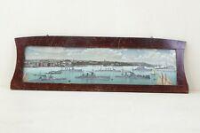 vecchio Cornice con Quadro Da Parete Panorama del porto,Nave da guerra,