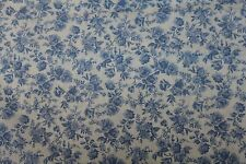 100 % Cotton fabric ~   Blue with darker blue flowers ~ BTY