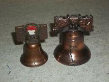 2 Liberty Bells Miniature Metal Aged Bronze Brass Pass & Stow Bicentennial L@K