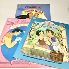 Disney Snow White, Cinderella, Pocahontas Golden Paper Dolls Vintage Lot Of 3