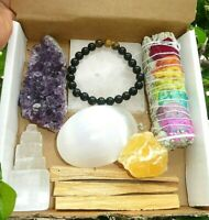 Healing Crystals and smudge kit Amethyst/Selenite/Palo Sant/7Chakra/Obsidian Bra